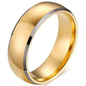 Men Cambered Tungsten Carbide Promise Engagement Plain Wedding Band Ring,18K Gold Plated,Silver Edge