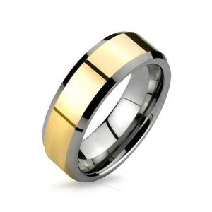 Gold Plated Silver Tungsten Beveled Ring 8mm