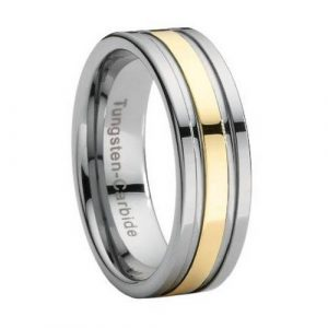 Two Tone Polished Tungsten 8mm Comfort Fit Wedding Ring for Men-Gold Plated