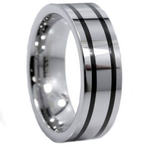8MM Mirror Polished 2 Black Plated Stripes Tungsten Carbide Ring Size