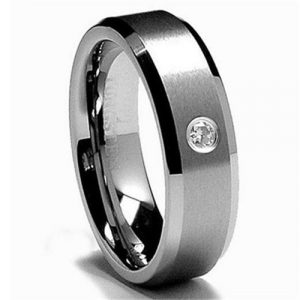 6mm Tungsten Ring Unisex Wedding Band with Cubic Zircon Stone in Comfort Fit Matte Finish