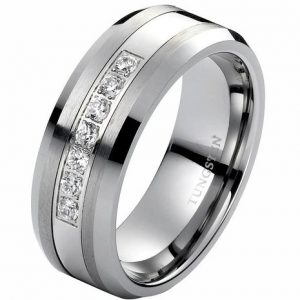 8mm White Tungsten Ring Unisex Wedding Band Polished Beveled Edge CZ Stone Channel Set