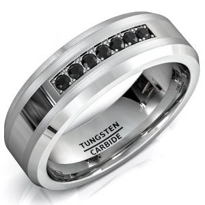8mm Tungsten Carbide Ring with Brilliant Black CZ Diamonds Mens Wedding Band