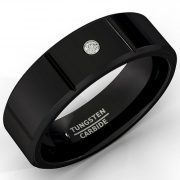 Mens Wedding Band 8mm Black Tungsten Ring Polished Sectioned Cz Diamond Beveled Edge Comfort Fit