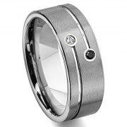 Tungsten Carbide Black & White Diamond Wedding Band Ring
