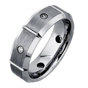 Men's Tungsten Diamond Band (0.15 carats, H-I I2)