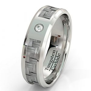 Mens Wedding Band Tungsten Ring Carbon Fiber Inlay with Brilliant Solitare CZ High Quality Tungsten Carbide 8mm Comfort Fit