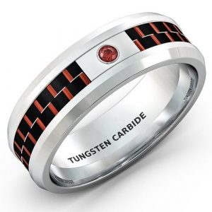 Mens Wedding Band 8mm White Tungsten Ring Red Carbon Fiber CZ Diamond Comfort Fit
