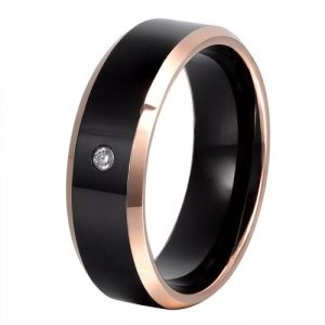 8mm Beveled Tungsten Carbide Rings with Cubic Zirconia Stone Inlaid and Rose Gold Edges