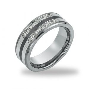 Men's Diamond Wedding Band in Tungsten (0.20 cts, H-I I2)