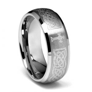 8mm Braid Pattern Laser Engraved Celtic Design with Cross Mens Tungsten Carbide Comfort-fit Wedding Band Ring