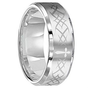 8mm Unisex Tungsten Carbide Ring Laser Tribal Design Double Grooved Polished Edge Wedding Band