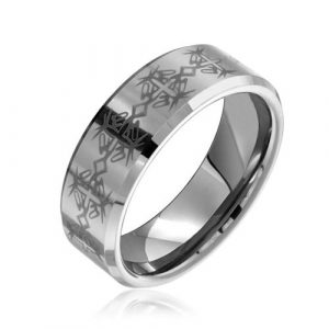 Celtic Cross Tungsten Beveled Wedding Band 8mm
