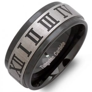 Tungsten Carbide Unisex Wedding Band 9MM Flat Ridges Edges Black Enamel Plated Laser Engraved Comfort Fit