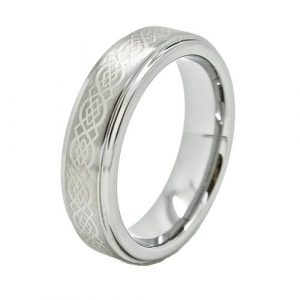 6mm Men's or Ladies Tungsten Carbide Ring Wedding Band with Laser Engraved Celtic Kno