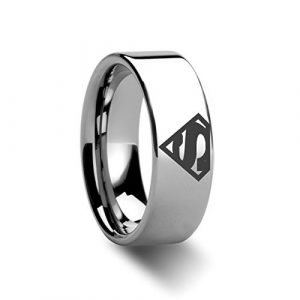 8mm Superman Symbol Super Hero Polished Tungsten Engraved Ring