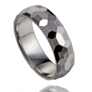 8mm Men's Polished Multi-faceted Fashion Tungsten Ring Wedding Band with Part Brushed Surface