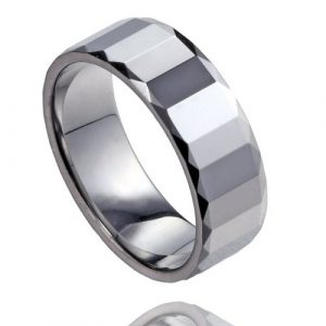 Mens Traditional Style Tungsten Wedding Band Ring in Comfort Fit with Rectangular Pattern