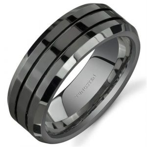 8mm Black Tungsten Rings for Men Polished Beveled Edge Double Groove Wedding Bands