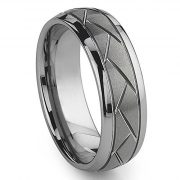 8MM Silver Domed Grooved Tungsten Ring Men's Brushed Wedding Band