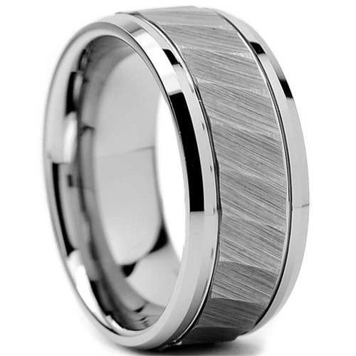 8mm Mens Tungsten Ring Square Hammered Twilled Brushed Finish Beveled Edge Wedding Band