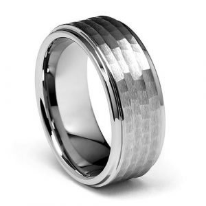 9mm Hammered Men's Tungsten Wedding Band