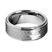 9mm Hammered Men's Tungsten Wedding Band