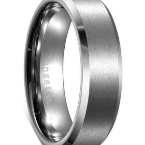 6mm Tungsten Ring for Men Matte Finish Polished Edge Mens Wedding Band