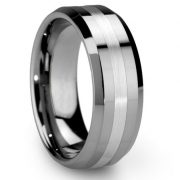 Men's 8mm Tungsten Ring One Tone Matte Finish Brushed Center Wedding Band Beveled Edge