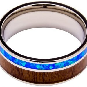 Titanium Ring Inlaid with 100% Natural Koa Wood and Opal - Extremely Unique - 8mm Wide - Wedding, Engagement, or Promise Ring