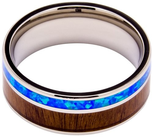 Titanium Ring Inlaid with 100% Natural Koa Wood and Opal – Extremely Unique – 8mm Wide – Wedding, Engagement, or Promise Ring