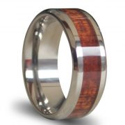 Titanium Ring Inlaid with Wood, 8mm Wide Comfort Fit Wedding Ring Engagement Ring Anniversary Ring Promise Ring