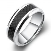 8mm Titanium Ring Inlaid Black Carbon Fiber, Silver White Beveled Men's Titanium Ring Comfort Fit Wedding Bands Promise Rings