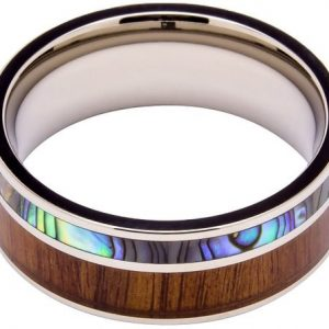 Titanium Ring Inlaid with 100% Natural Koa Wood and 100% Natural Abalone Shell - Extremely Unique - 8mm Wide - Wedding