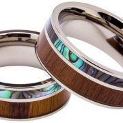 Titanium Ring Inlaid with 100% Natural Koa Wood and 100% Natural Abalone Shell – Extremely Unique – 8mm Wide – Wedding
