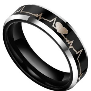 6mm/8mm Black Tungsten Ring Forever Love Heartbeat Design for Couples Lovers