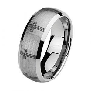 8mm Wedding Band Ring with Laser Etched Engraved Traditional Cross in Brushed and Polished Finish for Men and Women