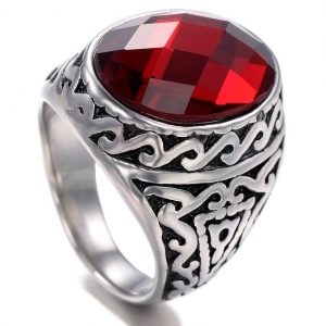 Cushion Cut Garnet Red Stone Silver Ring with Vintage Pattern
