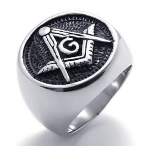 Embossed Stamped Freemason Masonic Stainless Steel Black Enamel Mens Ring