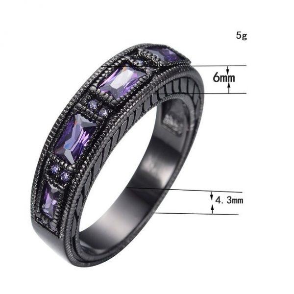 European Wedding Band Ring Purple Stone