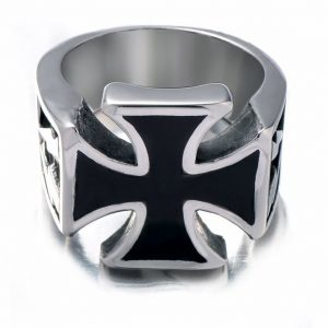 Fashion Vintage Jewelry Mens Stainless Steel Finger Rings Unique Cool Gothic Iron Cross Ring Band Designs Biker Punk Rock
