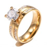 Gold Plated Jewelry Mens Womens Classic Couples Ring Cubic Zirconia Wedding Bands