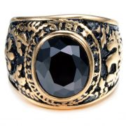 Gold Plated Stainless Steel Ring with Vintage Black Crystal