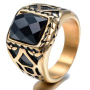 Gold Plated Vintage Ring Gemstone Square Black Crystal