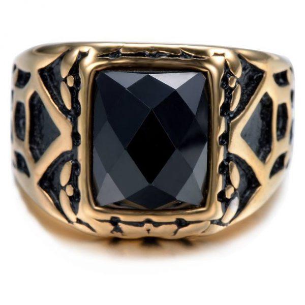 Gold Plated Vintage Ring Gemstone Square Black Crystal