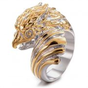Gold Silver Stainless Steel Ring Vintage Cool Owl