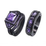 His Hers Three Pcs Purple Gold Bridal Rings Set Men Band