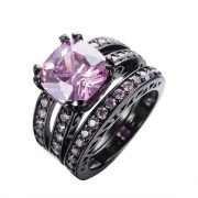 Lady Pink Wedding Ring With Thin Band Ring Set