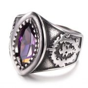 Marquise Crystal Stainless Steel Mens Ring Red Black Purple