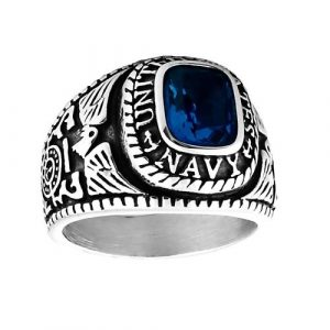 Mens 3.0ct Navy Simulated Blue Sapphire USA Military Signet Ring 316 Steel